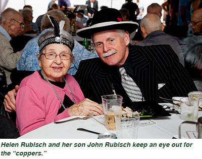 "Helen Rubisch and her son John Rubisch keep an eye out for the ""coppers."""
