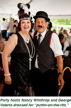 "Party hosts Nancy Winthrop and George Valerio dressed for ""puttin-on-the-ritz."""