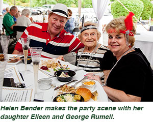 Helen Bender makes the party scene with her daughter Eileen and George Rumell.