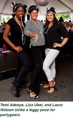 Temi Adeoye, Lisa Ubel, and Laura Watson strike a leggy pose for partygoers.