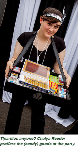Tiparillos anyone? Chaiya Reeder proffers the (candy) goods at the party.