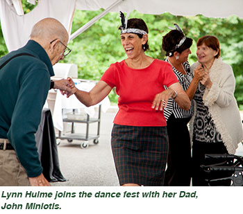 Lynn Hulme joins the dance fest with her Dad, John Miniotis.