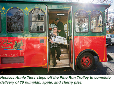 Hostess Annie Tiers steps off the Pine Run Trolley to complete delivery of 75 pumpkin, apple, and cherry pies.