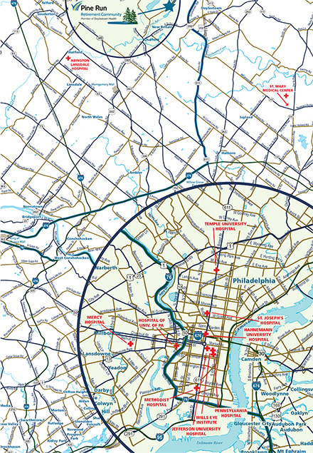 Map from Philadelphia Area Hospitals to Pine Run