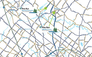 Pine Run Community and Lakeview Personal Care Location Map