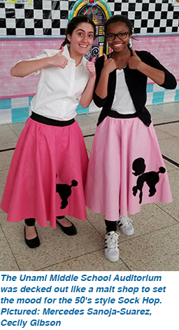 The Unami Middle School Auditorium was decked out like a malt shop to set the mood for the 50's style Sock Hop. Pictured: Mercedes Sanoja-Suarez, Cecily Gibson