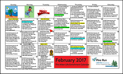 February 2017 The Arbor Life Enrichment Calendar