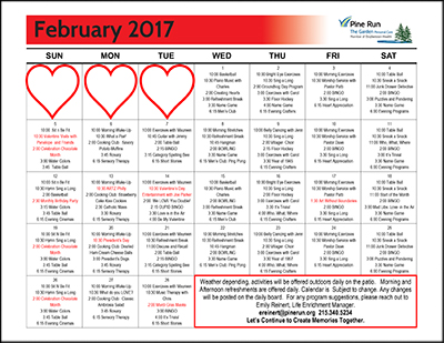 February 2017 The Garden Life Enrichment Calendar