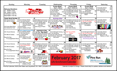 February 2017 Lakeview Life Enrichment Calendar