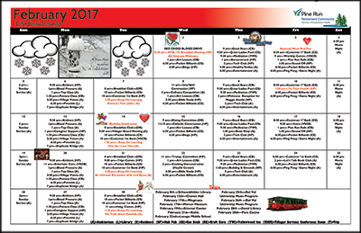 February 2017 Pine Run Village Life Enrichment Calendar