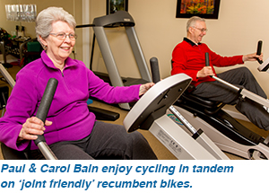 Paul & Carol Bain enjoy cycling in tandem on 'joint friendly' recumbent bikes.