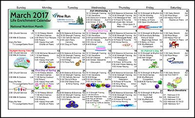 March 2017 Lakeview Life Enrichment Calendar