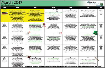 March 2017 Pine Run Village Life Enrichment Calendar