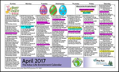 April 2017 The Arbor Life Enrichment Calendar