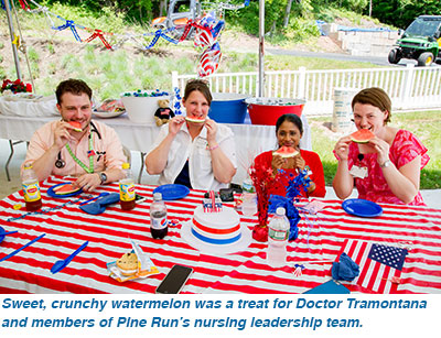 Sweet, crunchy watermelon was a treat for Doctor Tramontana and members of Pine Run's nursing leadership team.