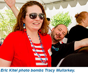 Eric Kitei photo bombs Tracy Mullarkey.