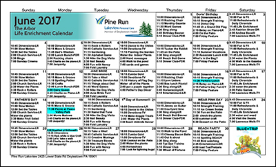 June 2017 The Arbor Life Enrichment Calendar