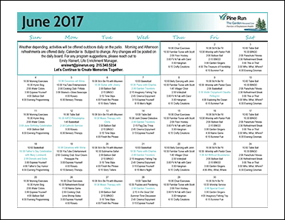June 2017 The Garden Life Enrichment Calendar