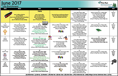 June 2017 Pine Run Village Life Enrichment Calendar