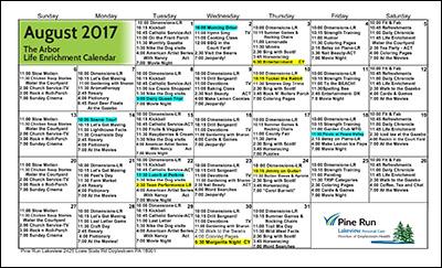 August 2017 The Arbor Life Enrichment Calendar