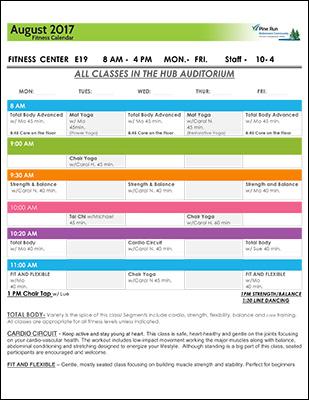 August 2017 Fitness Calendar