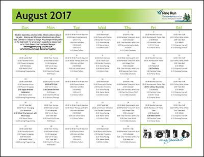 August 2017 The Garden Life Enrichment Calendar
