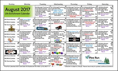 August 2017 Lakeview Life Enrichment Calendar