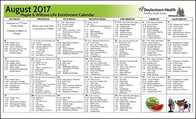 Pine Run Health Center Maple & Willows Life Enrichment Calendar August 2017