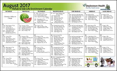 Pine Run Health Center Rehab & Oak Life Enrichment Calendar August 2017