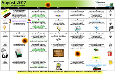 August 2017 Pine Run Village Life Enrichment Calendar