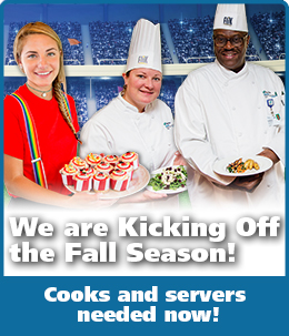 We Are Kicking Off the Fall Season! Cooks and servers needed now!