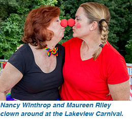 Nancy Winthrop and Maureen Riley clown around at the Lakeview Carnival.