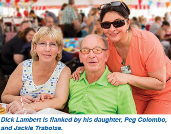 Dick Lambert is flanked by his daughter, Peg Colombo, and Jackie Trabolse.