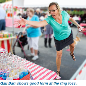 Gail Barr shows good form at the ring toss.