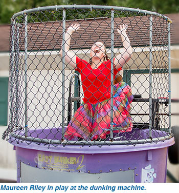 Maureen Riley in play at the dunking machine.