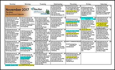 November 2017 The Arbor Life Enrichment Calendar