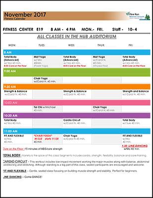 November 2017 Fitness Calendar