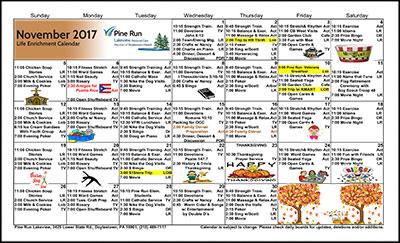 November 2017 Lakeview Life Enrichment Calendar