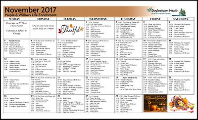 Pine Run Health Center Maple & Willows Life Enrichment Calendar November 2017