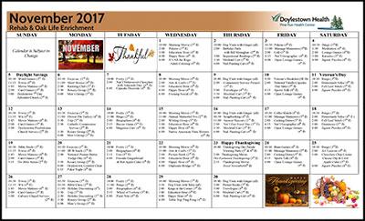 Pine Run Health Center Rehab & Oak Life Enrichment Calendar November 2017