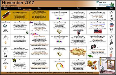 November 2017 Pine Run Village Life Enrichment Calendar