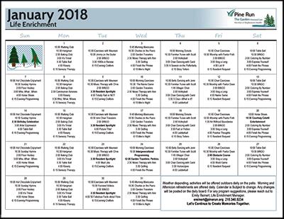 January 2018 The Garden Life Enrichment Calendar