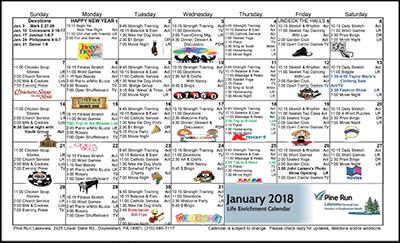 January 2018 Lakeview Life Enrichment Calendar