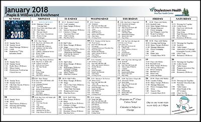 January 2018 Pine Run Health Center Maple & Willows Life Enrichment Calendar