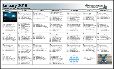 January 2018 Pine Run Health Center Rehab & Oak Life Enrichment Calendar