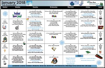 January 2018 Pine Run Village Life Enrichment Calendar