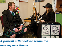 A portrait artist helped frame the masterpiece theme.