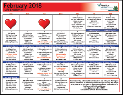 February 2018 The Garden Life Enrichment Calendar
