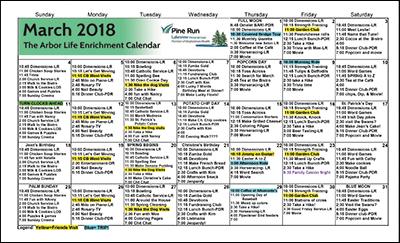 March 2018 The Arbor Life Enrichment Calendar