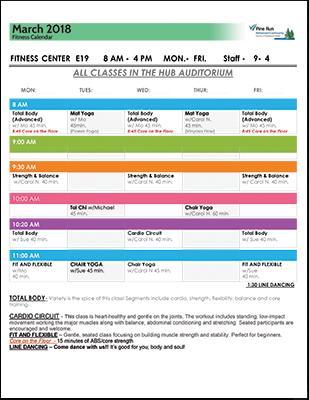 March 2018 Fitness Calendar